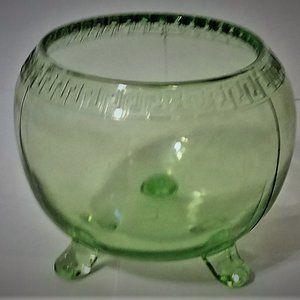 Antique Vaseline Glass Footed Greek Key Border Bow